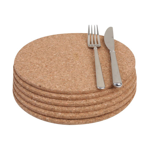 Round Cork Table Mats, Set Of 6