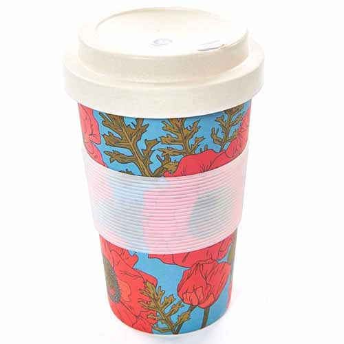 ECO CHIC BAMBOO REUSABLE COFFEE CUP, POPPIES