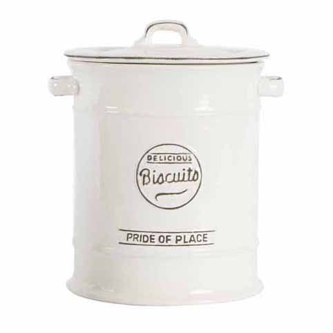 Pride Of Place Large Ceramic Biscuit Jar, White