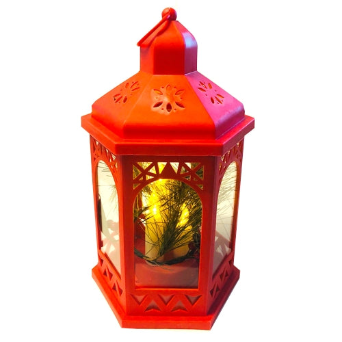 Christmas Themed Battery Operated LED Lantern, Red
