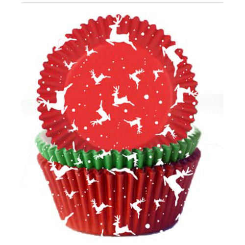 Christmas Reindeer Cupcake Cases, Pack of 75, 7cm x 3cm