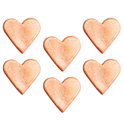Heart Cake Toppers, Pack Of 6, Rose Gold