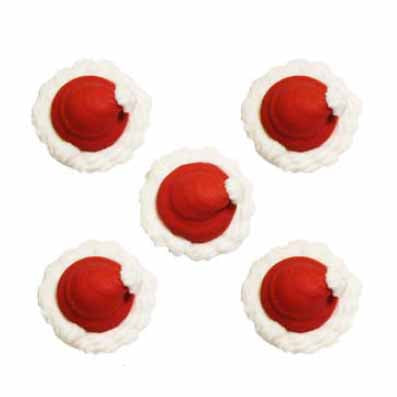 Santa Hats Sugarcraft Cake Toppers, Pack Of 5