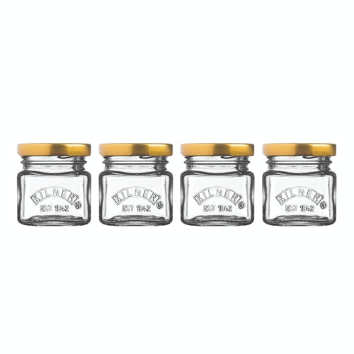 Kilner Screw Top Mini Preserve Jar, 55ml, Set Of 4