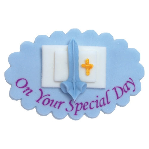 Communion/Confirmation Edible Cake Decoration, Blue