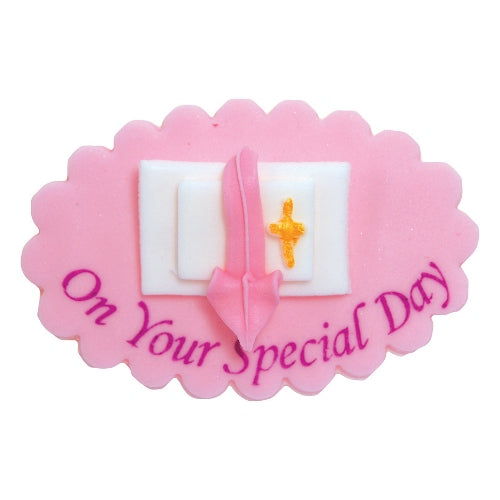 Communion/Confirmation Edible Cake Decoration, Pink