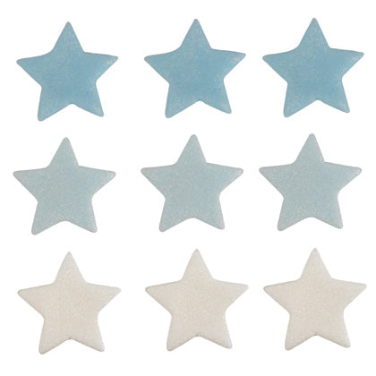 Stars Sugarcraft Cake Toppers, Blue, White, Light Blue