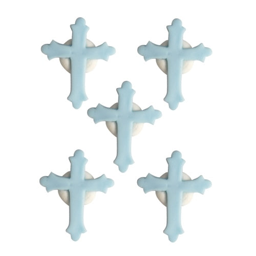 Communion/Confirmation Cross Edible Cake Decorations, Pack Of 5, Blue