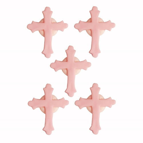 Communion/Confirmation Cross Edible Cake Decorations, Pack Of 5, Pink