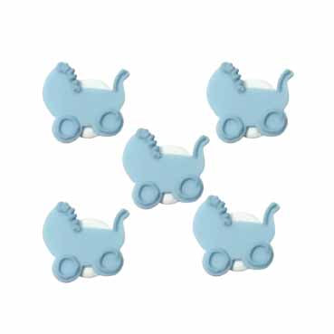 Sugarcraft Baby's Pram Cake Toppers, Pack of 5, Blue