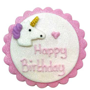 Sugarcraft Happy Birthday Unicorn Cake Topper, 1 Piece