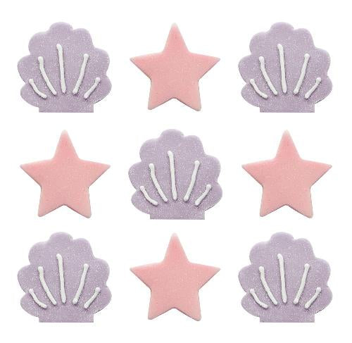 Sugarcraft Mermaid Iridescent Stars & Shells Cake Toppers, 9 Piece