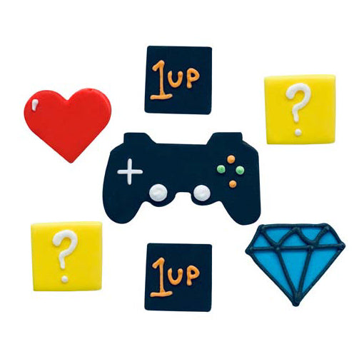 Gaming Party Sugarcraft Cake Toppers, 7 Piece