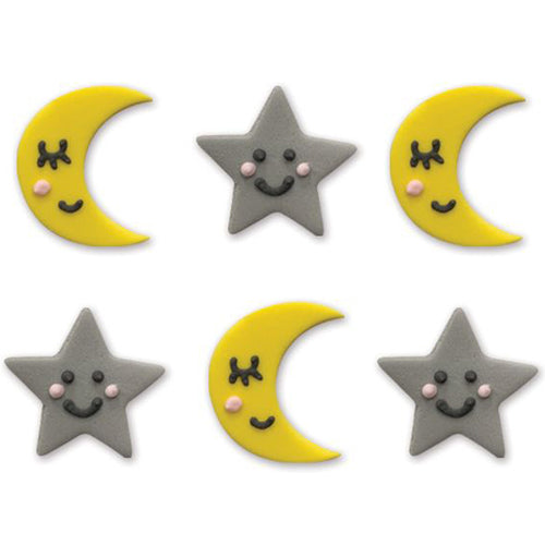 Twinkle Twinkle Little Star Sugar Cake Topper Decorations, Pack Of 6