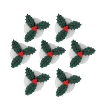 Holly Sugarcraft Cake Toppers, Pack Of 7