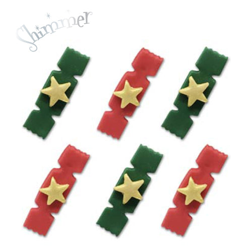 Red & Green Christmas Cracker Sugarcraft Cake Toppers, Pack Of 6
