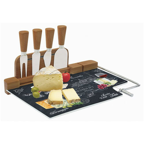World Of Cheese Glass Cheese Board With Knives & Wire Set
