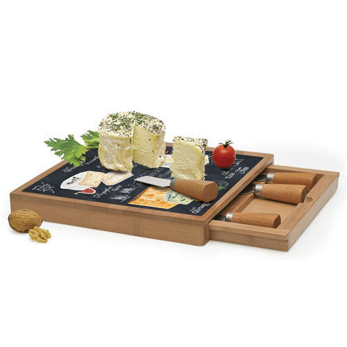 Bamboo Cheese Board With Cheese Knives