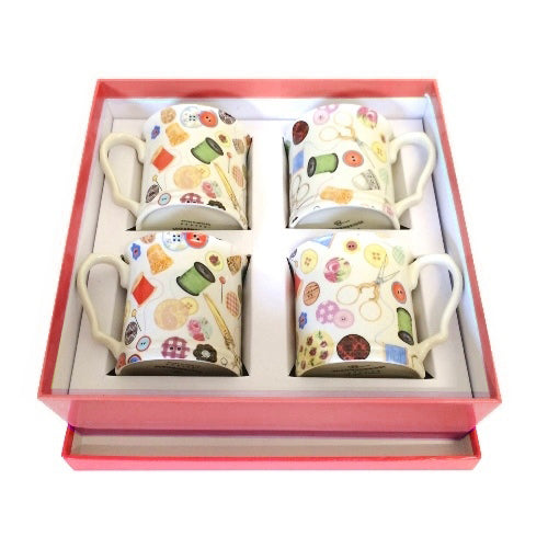 Shannonbridge Pottery Sewing 4 Piece Mug Gift Set