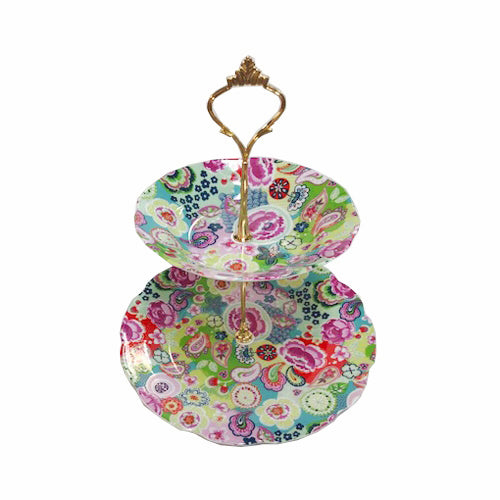 Shannonbridge Pottery Burst Of Colours 2 Tier Cake Stand