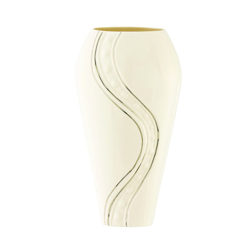 Belleek Silver Ripple Vase, 9""