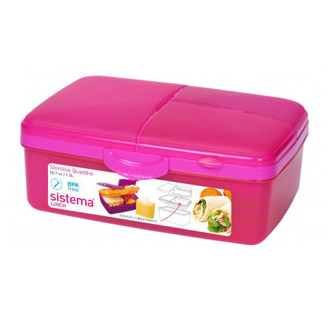 Sistema Slimline Quaddie With Bottle, 1.5l, Pink