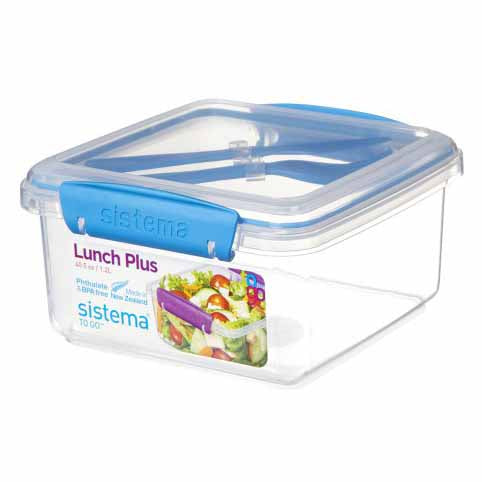 Sistema Lunch Plus To Go With Cutlery, 1.2l, Blue