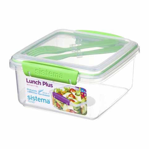 Sistema Lunch Plus To Go With Cutlery, 1.2l, Green