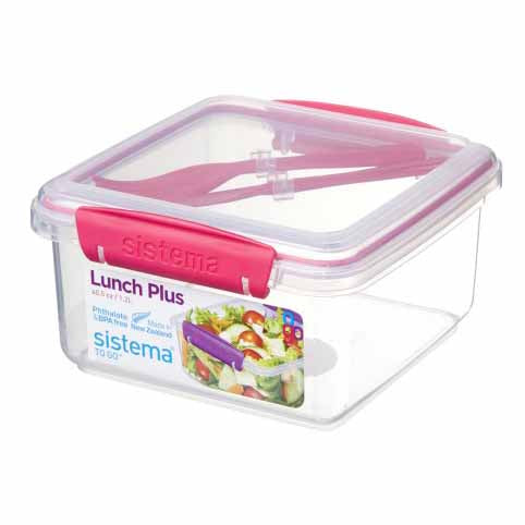 Sistema Lunch Plus To Go With Cutlery, Pink