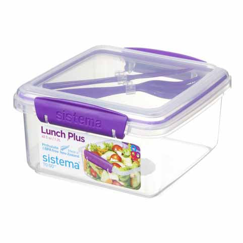 Sistema Lunch Plus To Go With Cutlery, 1.2l, Purple