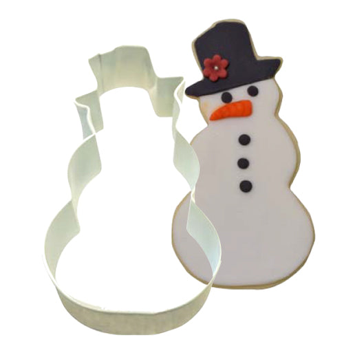 White Snowman Shaped Cookie Cutter, 10.2cm