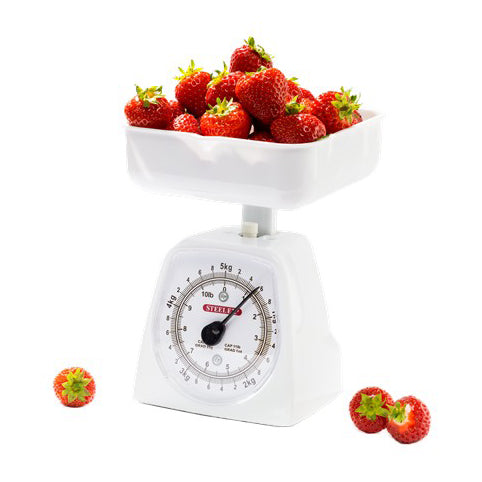 Steelex White Mechanical Kitchen Scales, 5KG