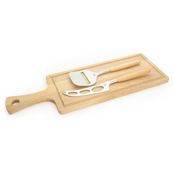Taylors Eye Witness Beech Wood Cheese Board & 2 Piece Knife Set