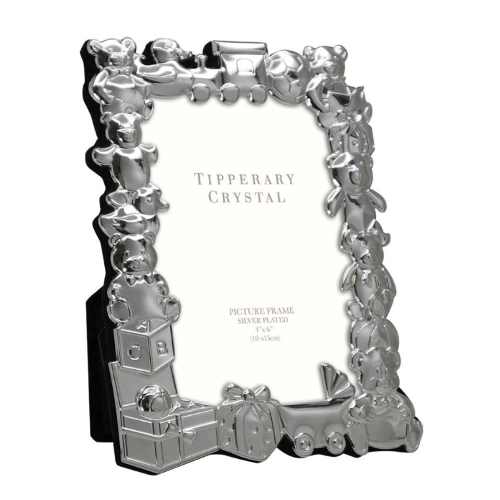 "Tipperary Crystal Baby Photo Frame With Toy Parade, 4"" x 6"""