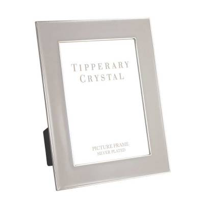 "Tipperary Crystal Grey Enamel Photo Frame With Silver Edging, 5"" x  7"""