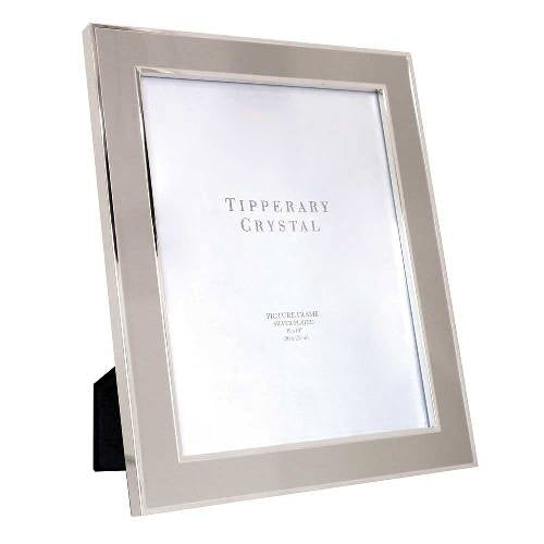 "Tipperary Crystal Grey Enamel Photo Frame With Silver Edging, 8"" x  10"""