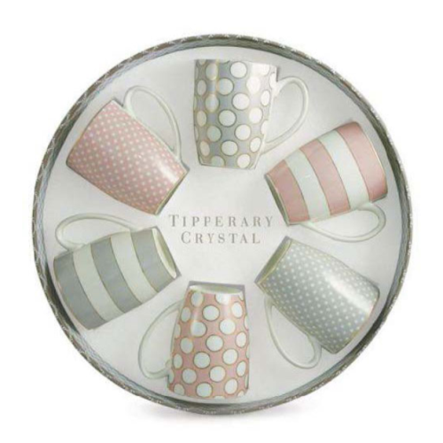 Tipperary Crystal Bone China Mugs, Set Of 6, Spots & Stripes, Party Pack
