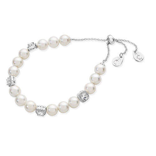 TIPPERARY CRYSTAL Silver String Pearl Bracelet & CZ Cushion