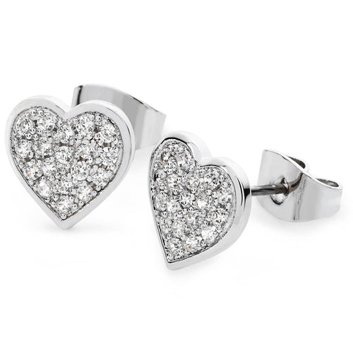 TIPPERARY CRYSTAL Silver Pavé Heart Stud Earrings