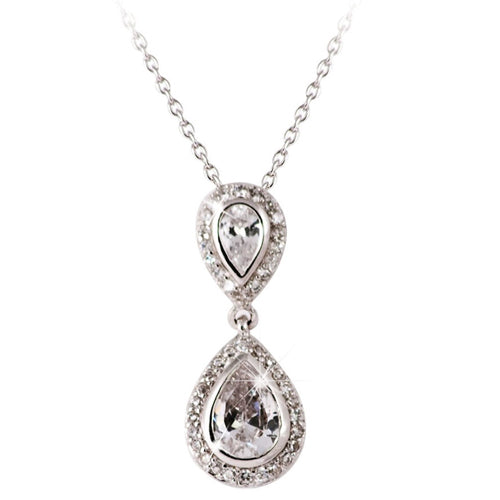 TIPPERARY CRYSTAL Silver Pendant Pear Shape Drop