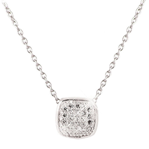 TIPPERARY CRYSTAL Silver Pendant Pave Soft Edge Square
