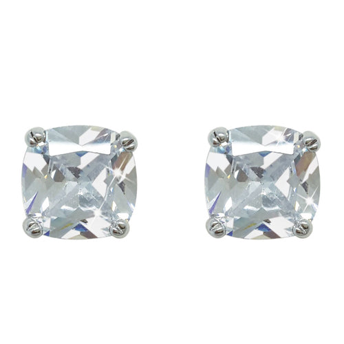 TIPPERARY CRYSTAL Silver Square Earrings With Clear Stone