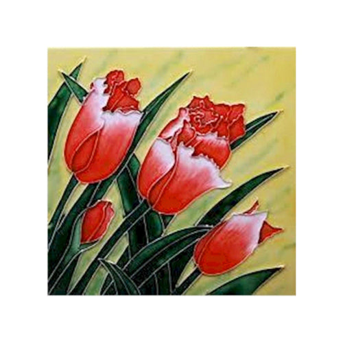 "Benaya Art Ceramic Tiles 'Tulip Bloom' 8"" x 8"""