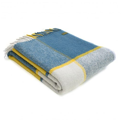 Tweedmill Lifestyle Block Check Throw, Ink & Yellow