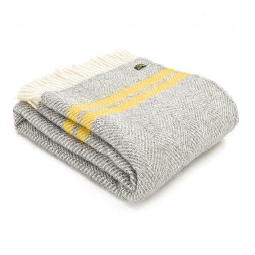 Tweedmill Lifestyle Fishbone 2 Stripe Throw, Grey/Yellow