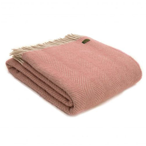 Tweedmill Lifestyle Herringbone Throw, Dusky Pink/Pearl
