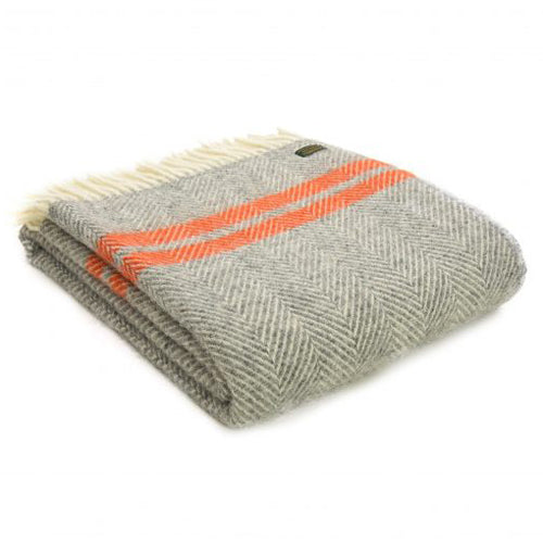 Tweedmill Lifestyle Fishbone 2 Stripe Throw, Grey/Pumpkin