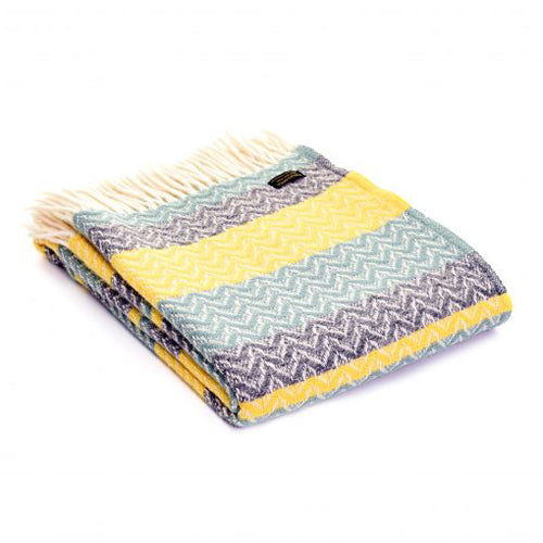 Tweedmill Lifestyle Ripple Throw, Sea Green/Yellow