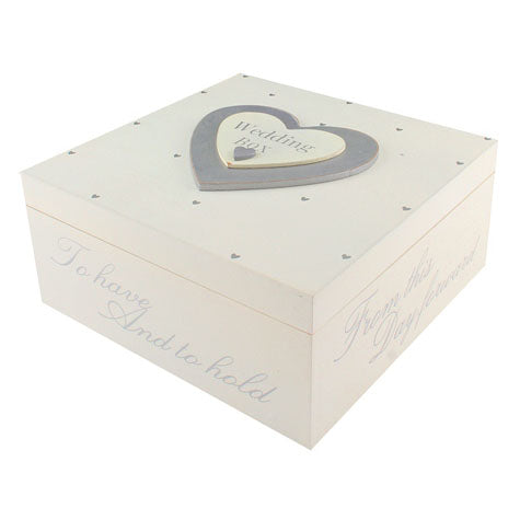 Wooden Wedding Box With Silver Heart