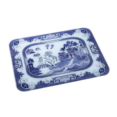 Glass Worktop Saver, Blue Willow, Medium